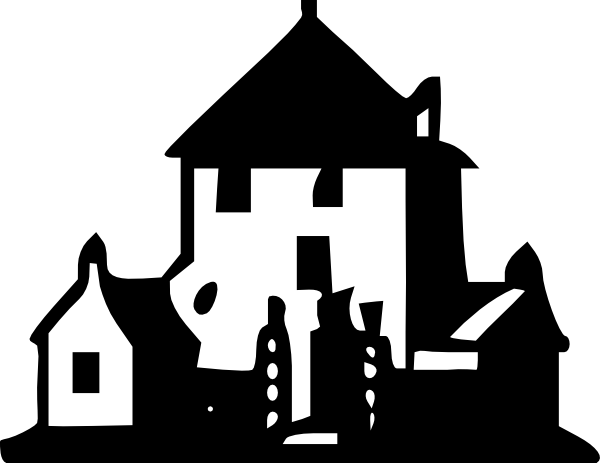 black and white Mansion clipart. Black and white garden.