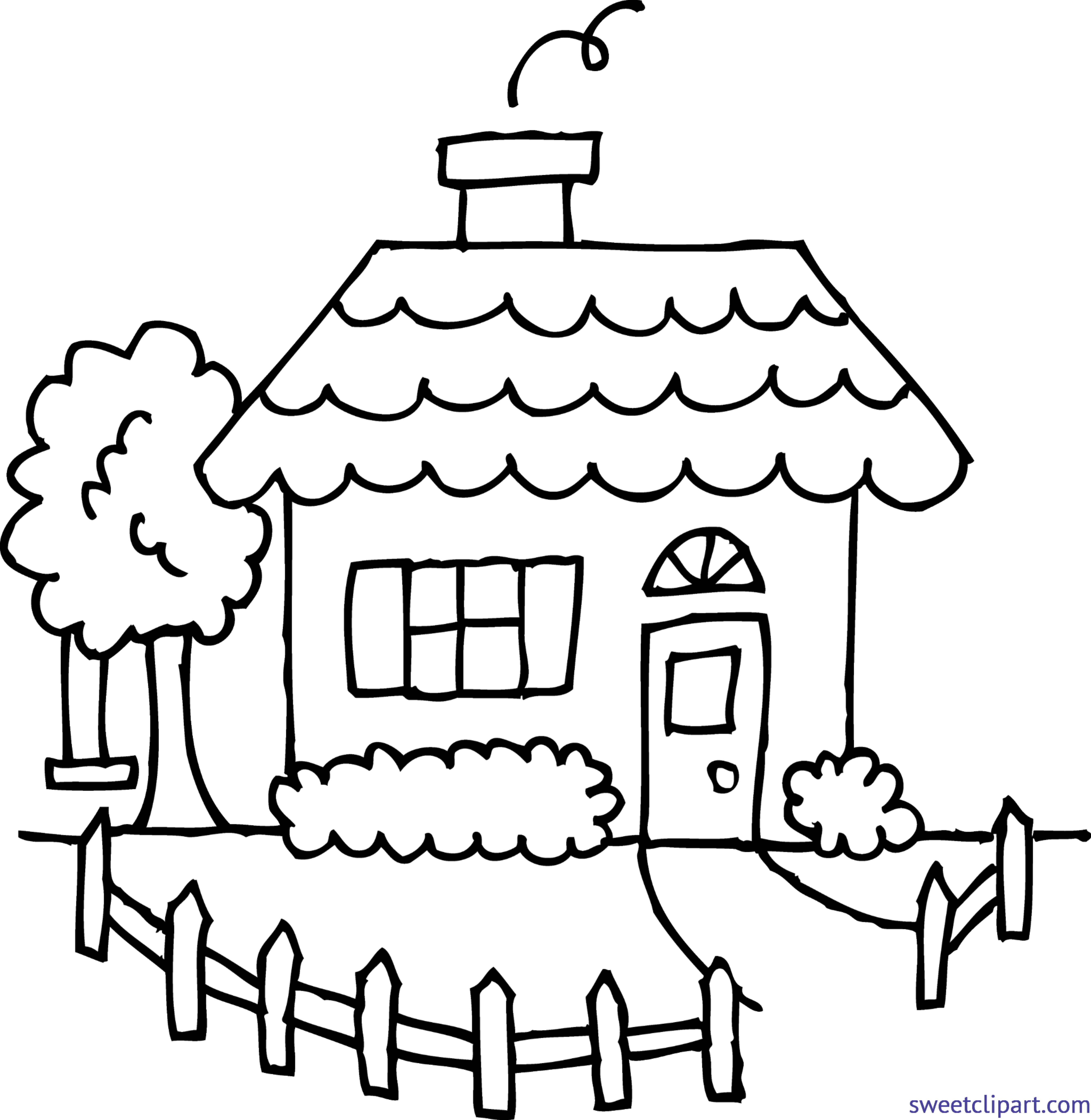 graphic transparent Yard clipart country house. Line drawing clip art.
