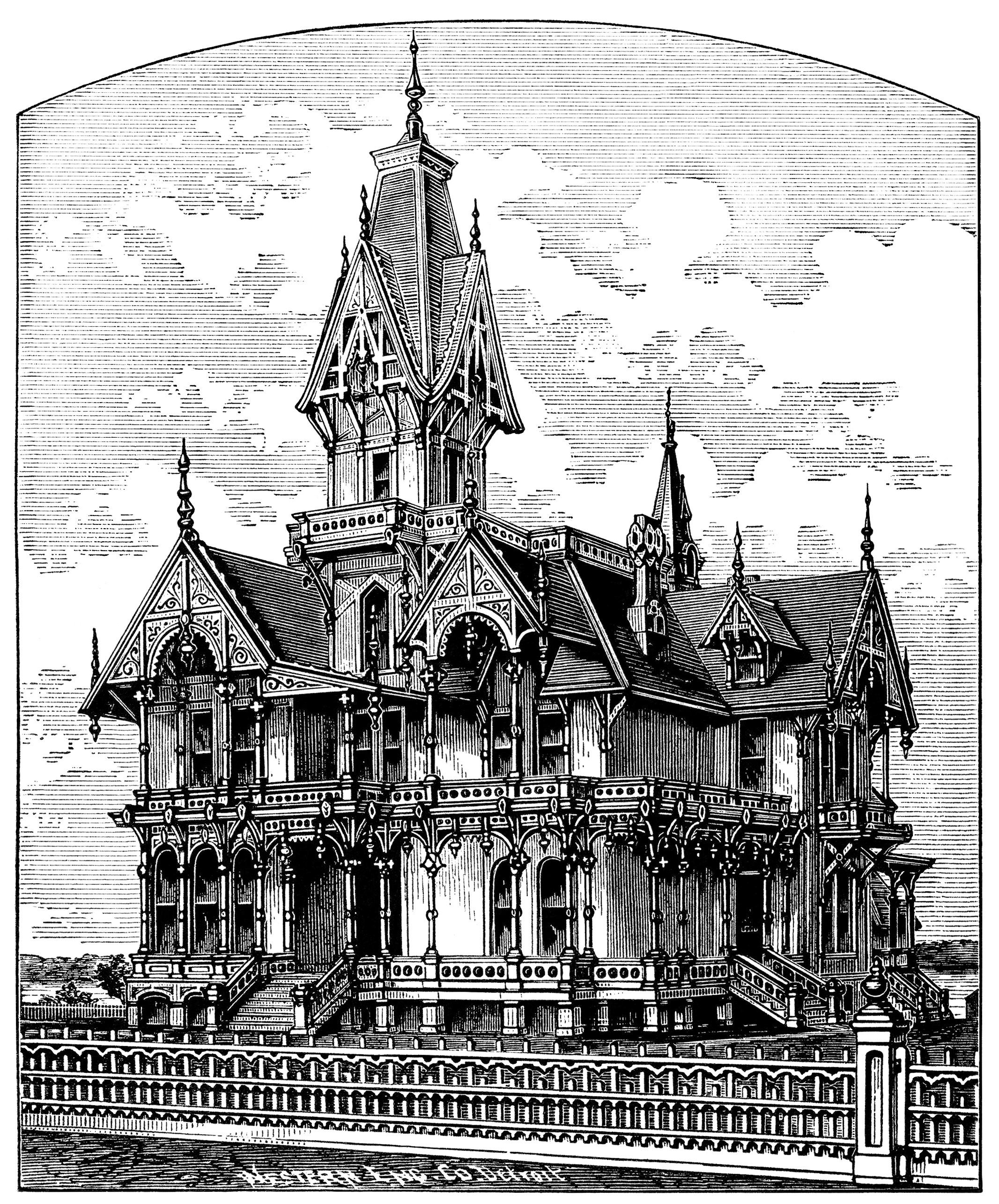 royalty free library Mansion clipart first house. Victorian home clip art.