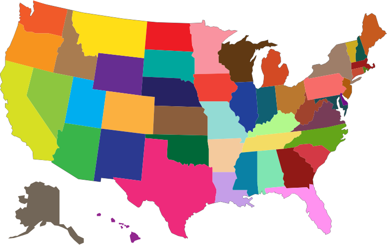 picture transparent download Multicolored medium image png. Map clipart map united states.