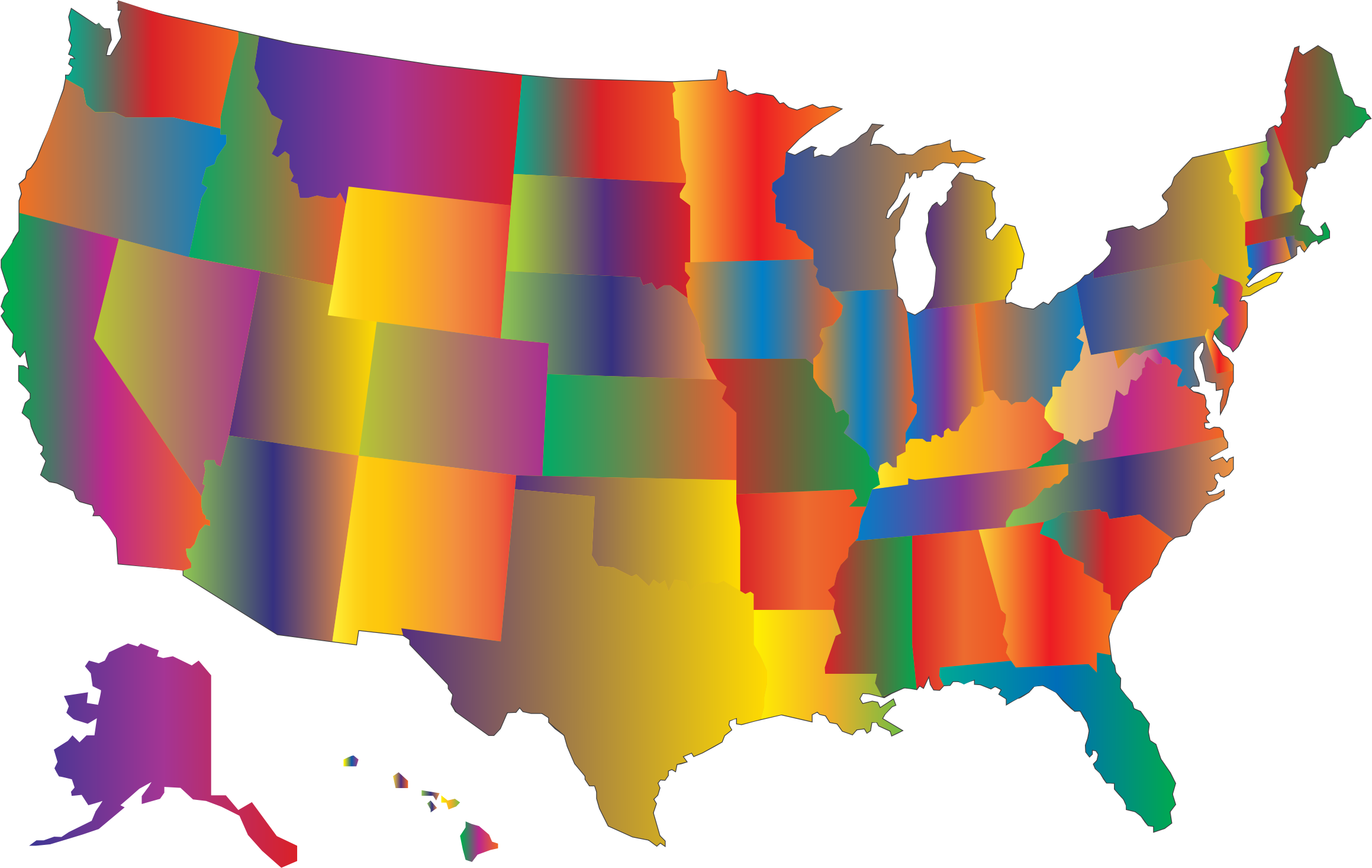 graphic transparent download Multicolored blended big image. Map clipart map united states.