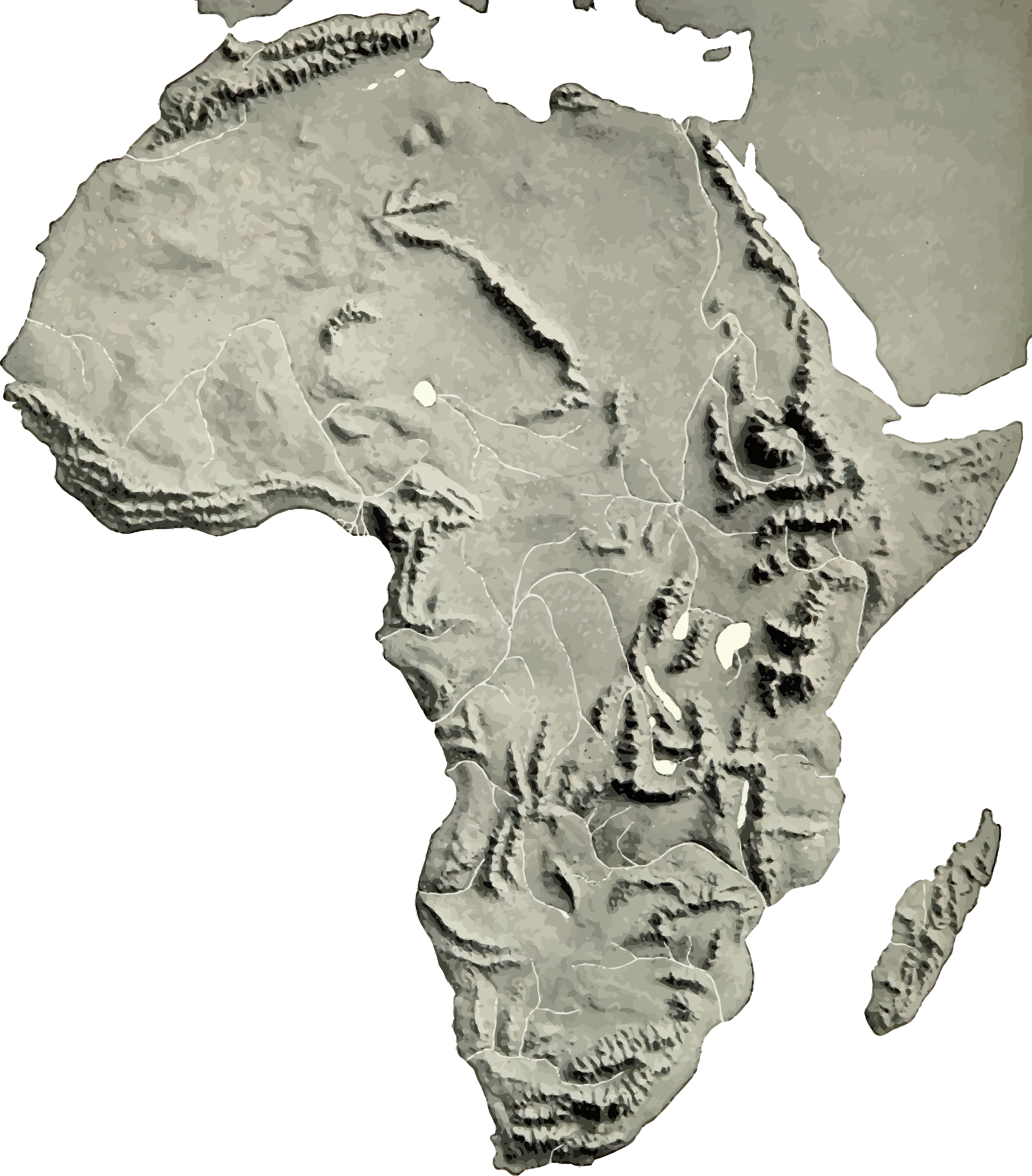 clip library Map clipart terrain. Africa relief big image.