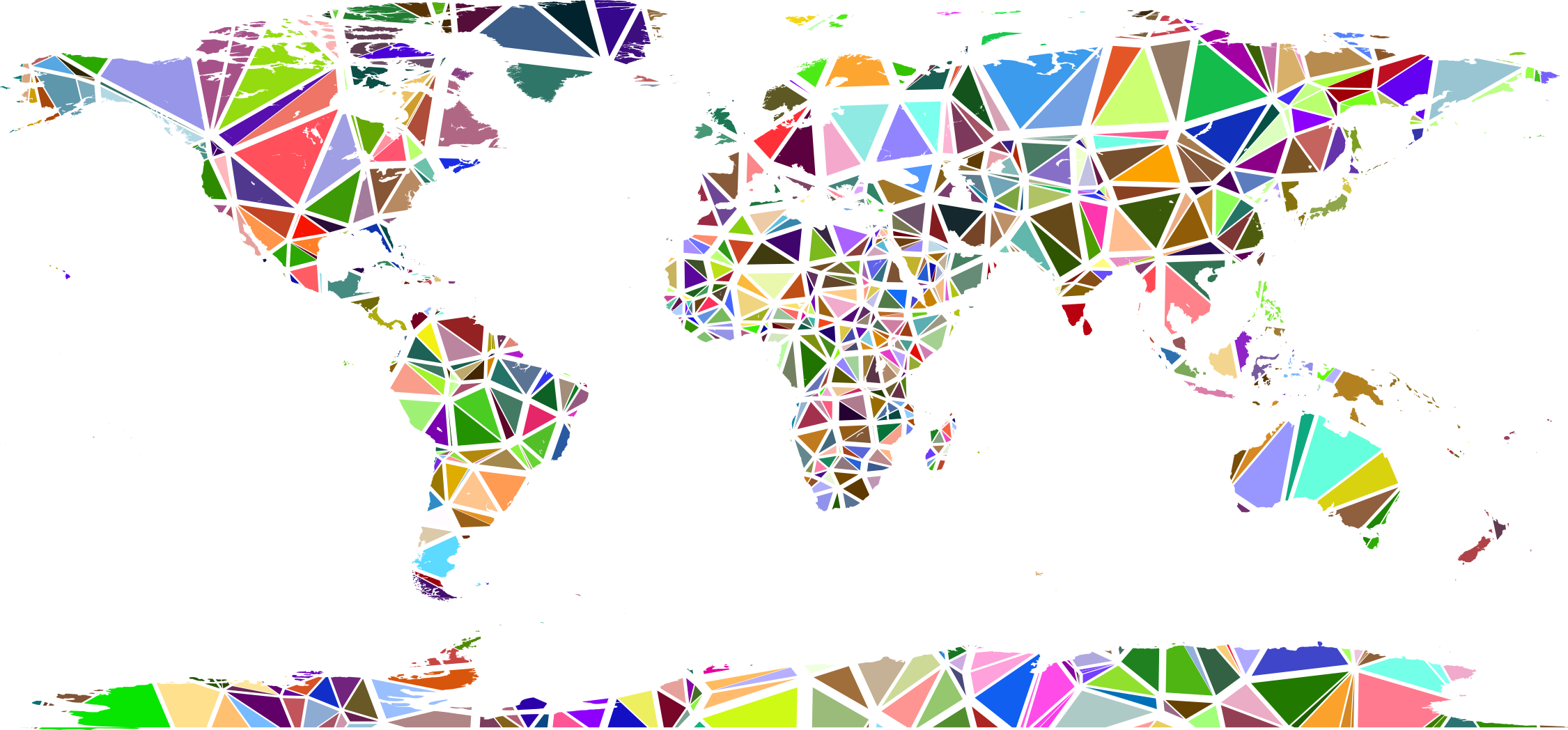 banner Low Poly Shattered World Map No Background Icons PNG