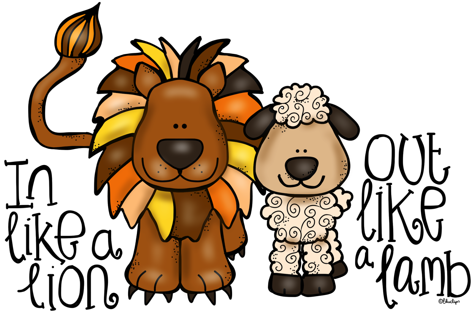 clip art free library In like a out. March clipart lion lamb.