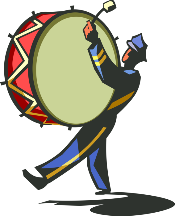 svg free Marching drummer with drum. Vector band illustration