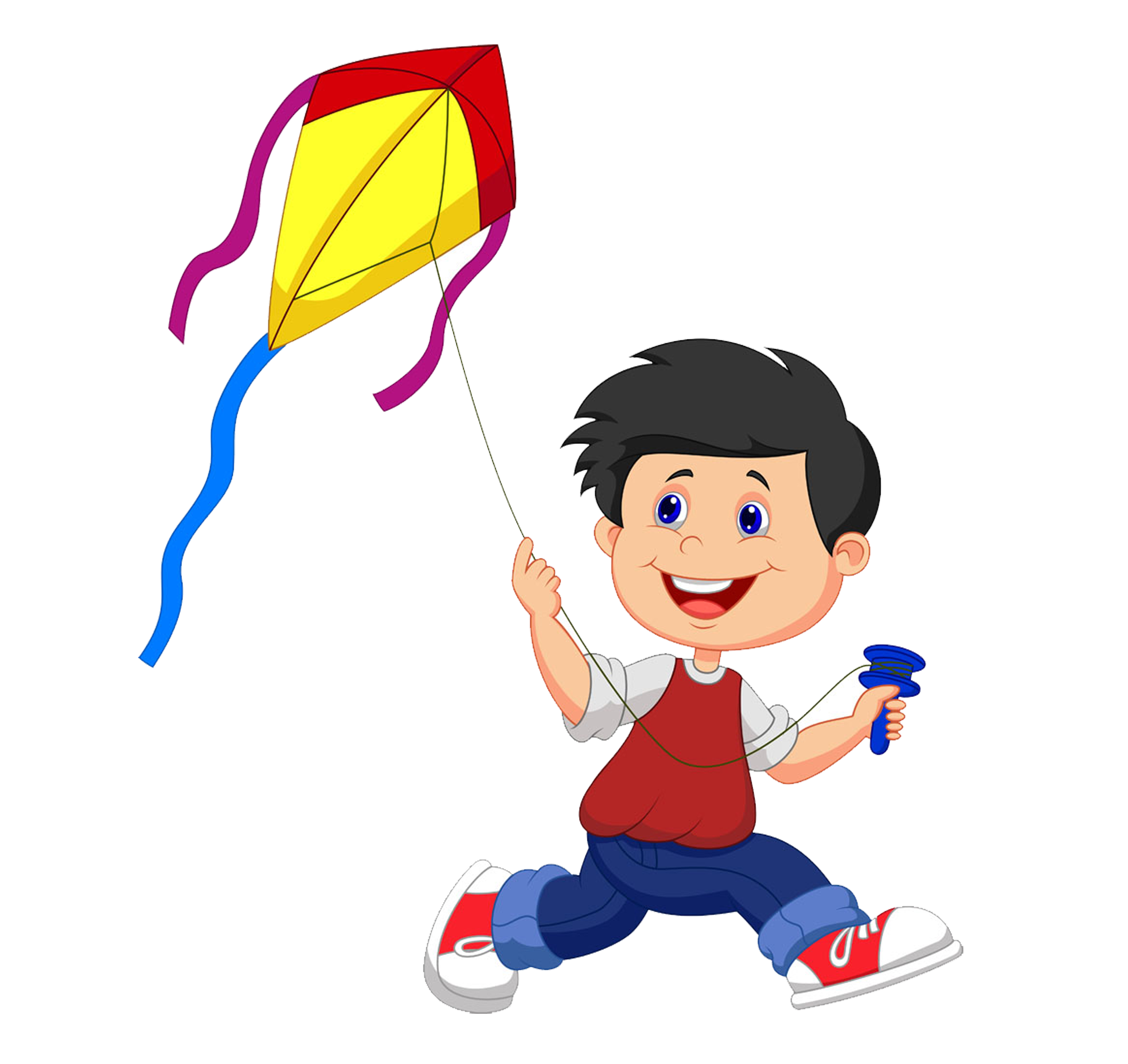 black and white stock Cartoon illustration small people. Marching clipart fly kite.