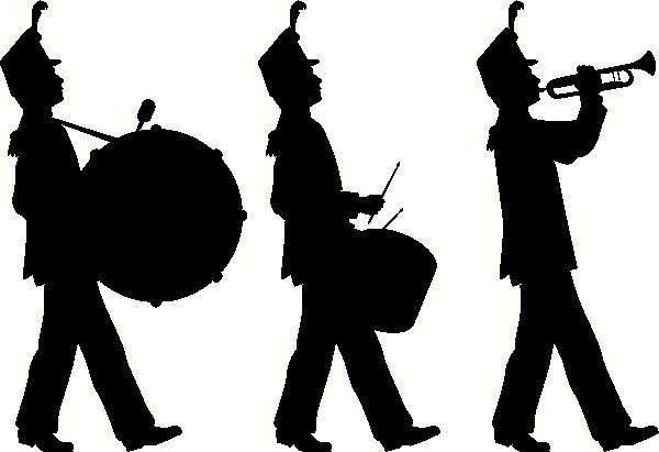 banner Marching clipart sign. Band silhouette clip art.