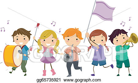 picture transparent library Vector art stickman kids. Marching clipart sign.