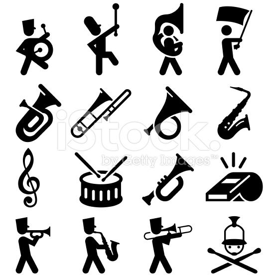 clip art black and white library Marching clipart sign. Band icons professional clip.