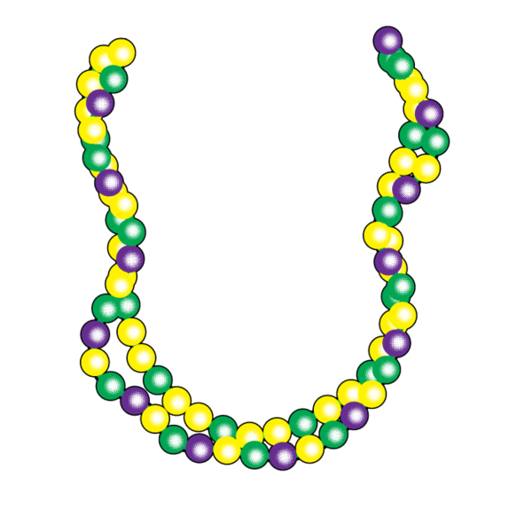 jpg black and white library Mardi gras beads clipart beaded bracelet. New orleans fat tuesday.