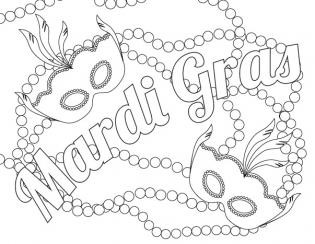 vector library library Mardi gras beads clipart coloring page.  for free download.