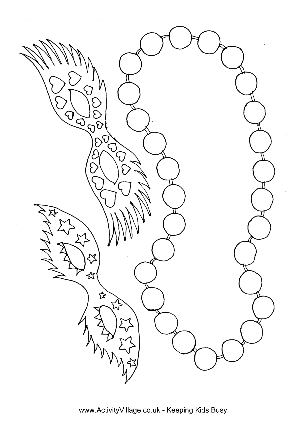 banner stock Mardi gras beads clipart coloring page. Picture .