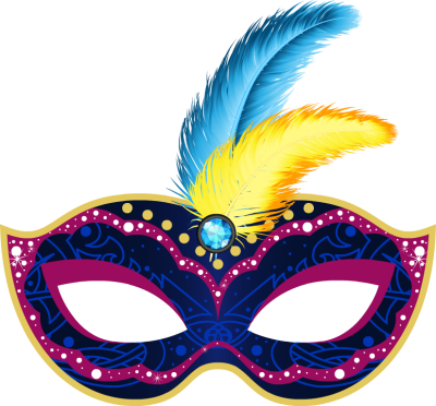 banner library library Mardi Gras Mask clip art