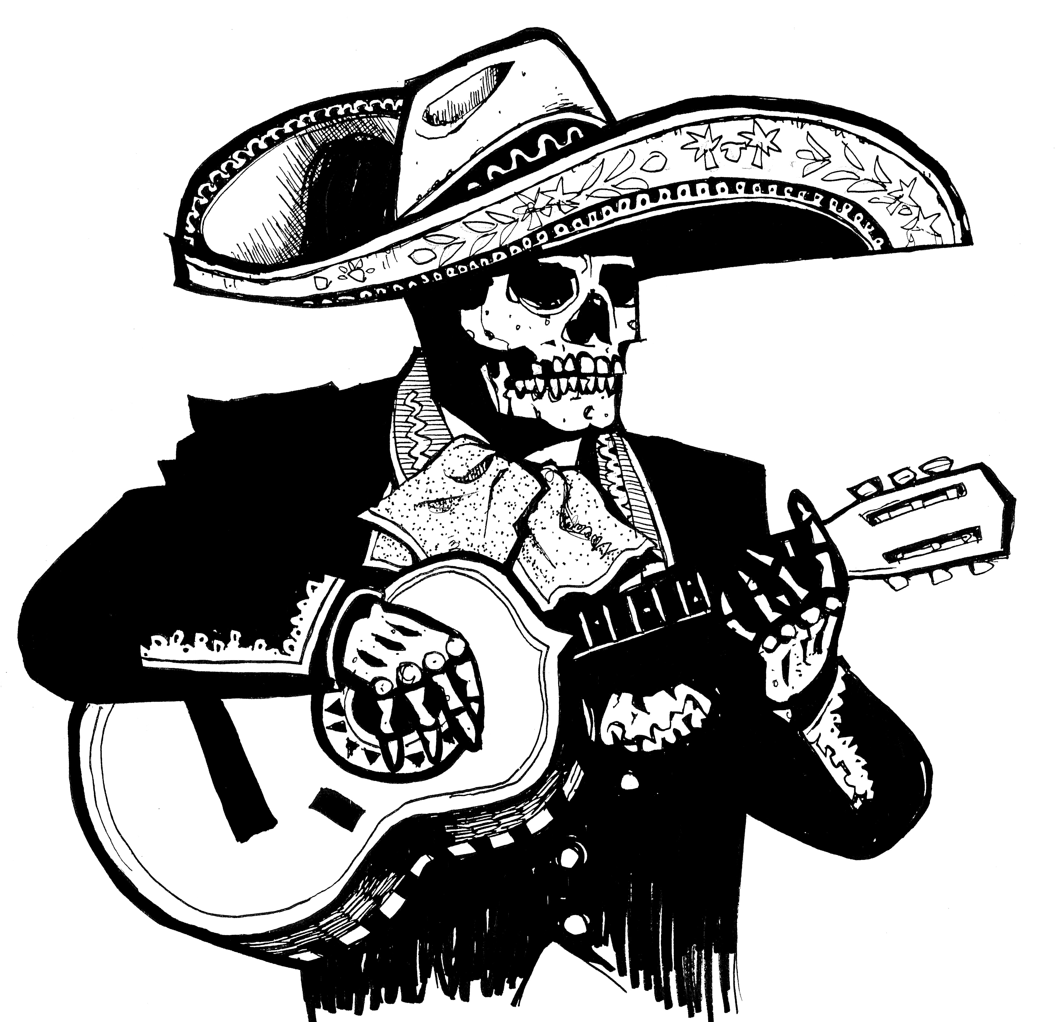 banner black and white Mariachi drawing. Sketch at paintingvalley com.
