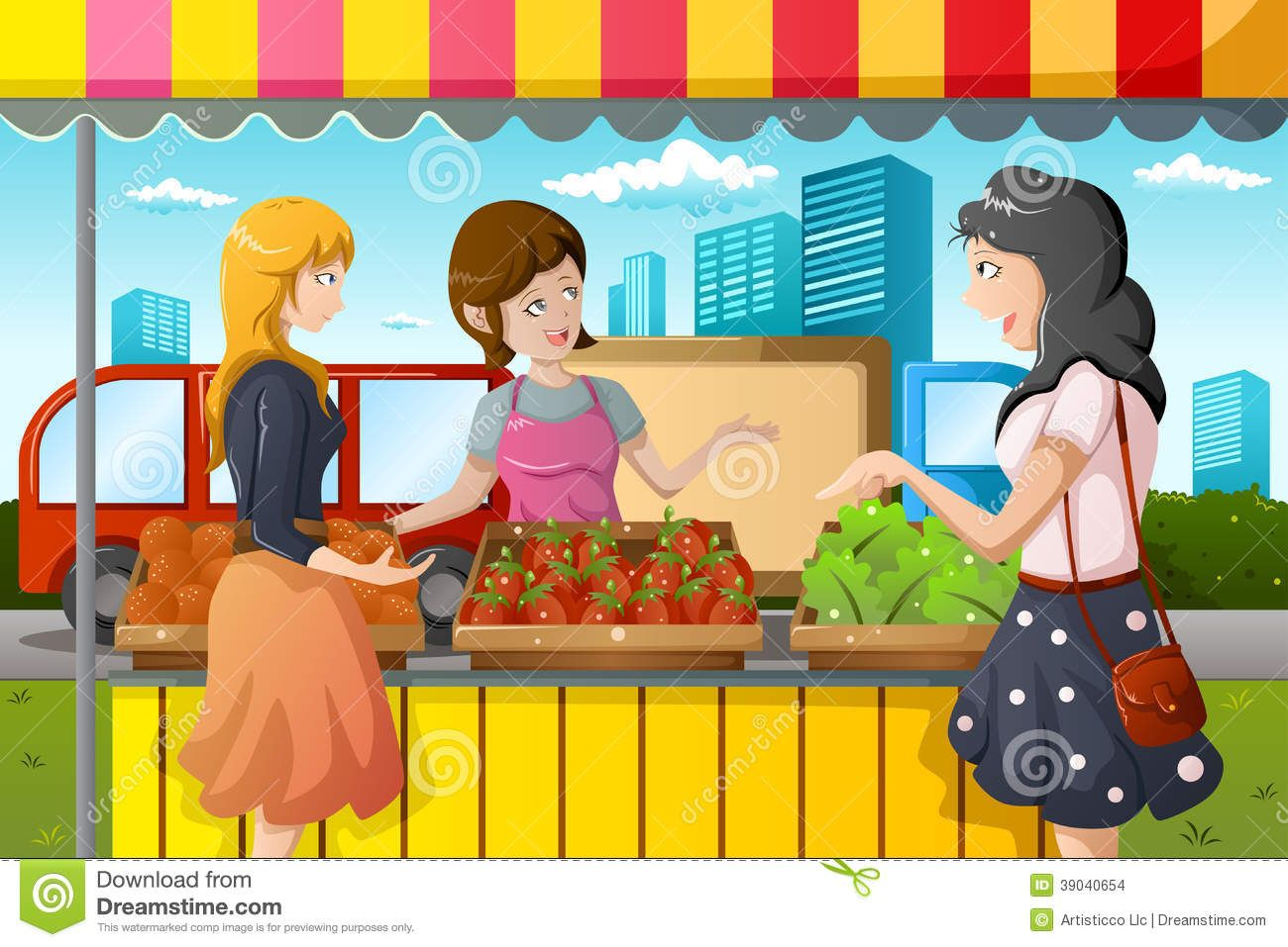 black and white Market clipart. Farmers stall people shopping
