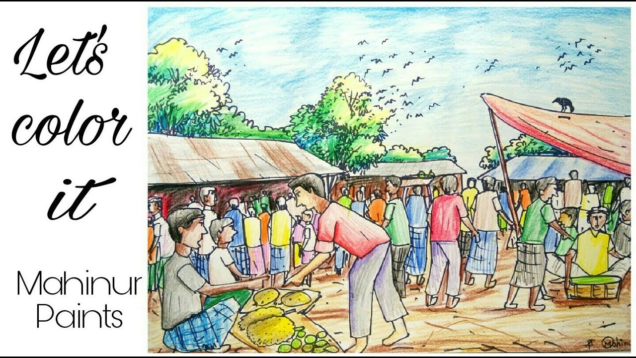 graphic freeuse stock How to color a scenery of village market step by step