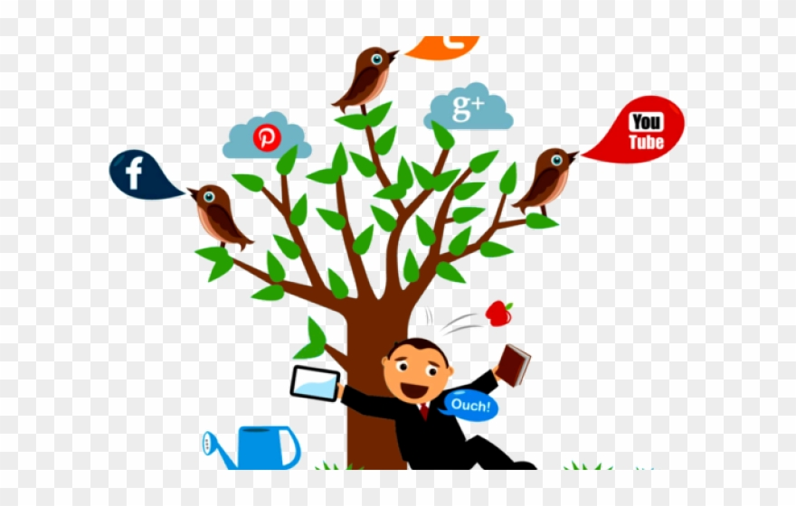 clip freeuse library Marketing clipart tree. Online mining social media.