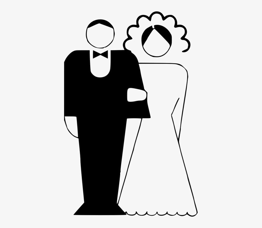 svg freeuse library Couple married black and. Marriage clipart