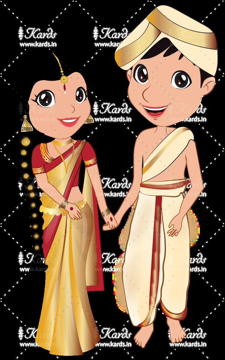 vector royalty free download Kannada couple wedding invitation. Marriage clipart brahmin.