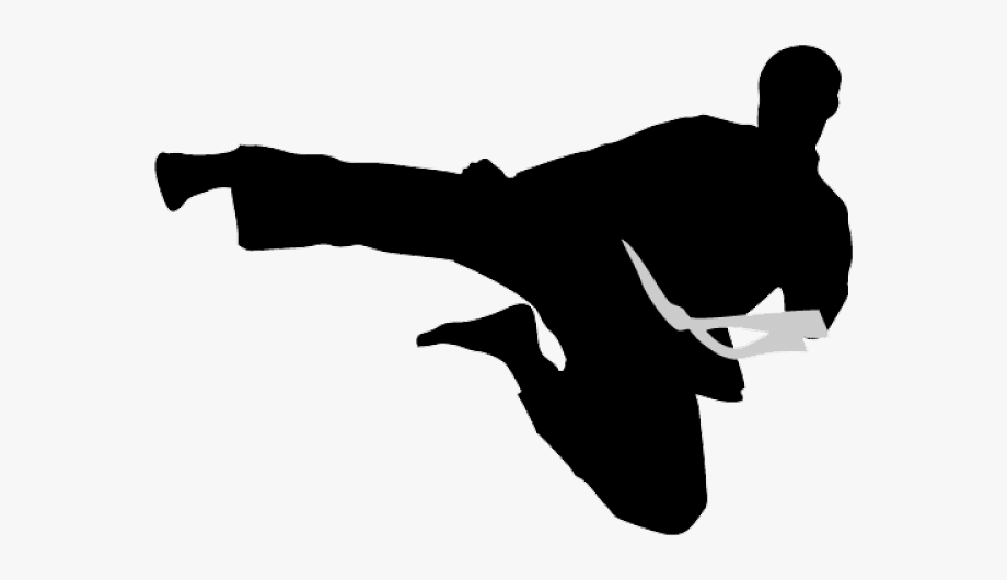 vector black and white stock Karate logo kick png. Martial arts clipart