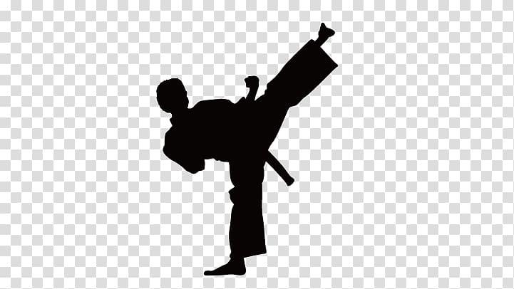 jpg transparent stock Martial arts clipart karate kick. Silhouette of artist illustration.