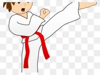 clipart black and white library Martial arts clipart martail. Mixed taekwondo sparring kick.