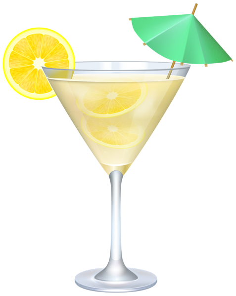 svg black and white download Cocktail with Lemon and Umbrella PNG Clip Art Image