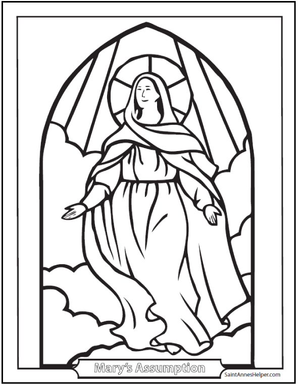 clipart royalty free download Mary drawing worksheet. Assumption coloring picture of