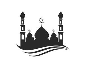 black and white Masjid Vector stock photos and royalty