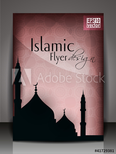 png library stock Islamic flyer or brochure and cover design with Mosque or