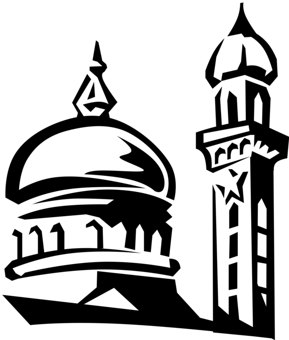 clipart royalty free Islamic dome minaret image. Mosque vector black and white