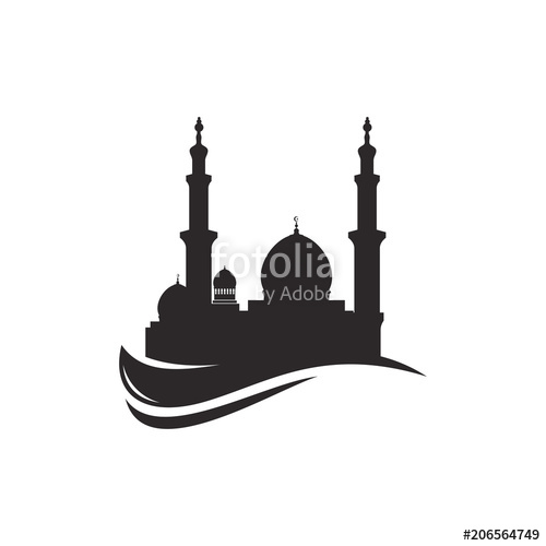 stock Mosque silhouette icon logo template