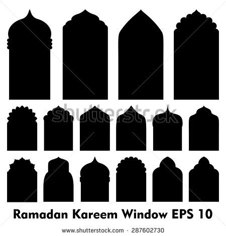 graphic library download Islamic and window shapes. Vector door mosque