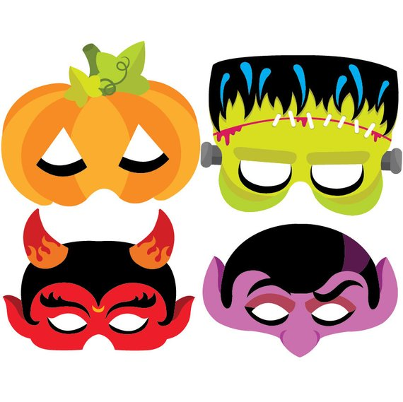 jpg black and white Halloween vector set instant. Mask clipart