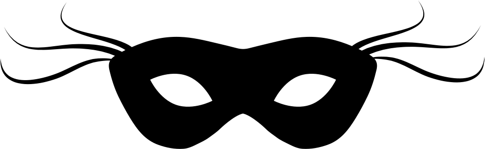 graphic transparent download Carnival Mask Black Small Shape With Thin Lines At Both Sides Svg