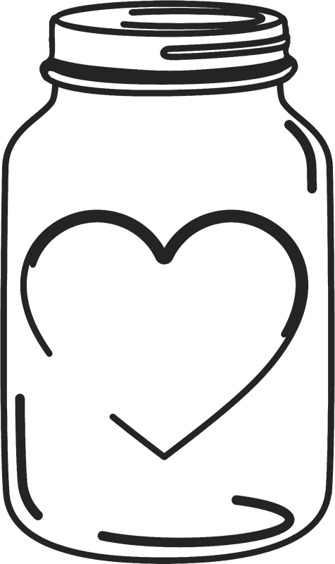 vector black and white stock Mason clipart. Jar heart free on.