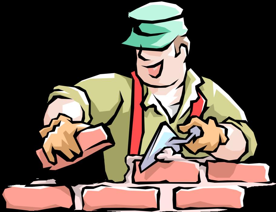 png transparent stock Mason clipart worker. Handyman bricklayer lays masonry.