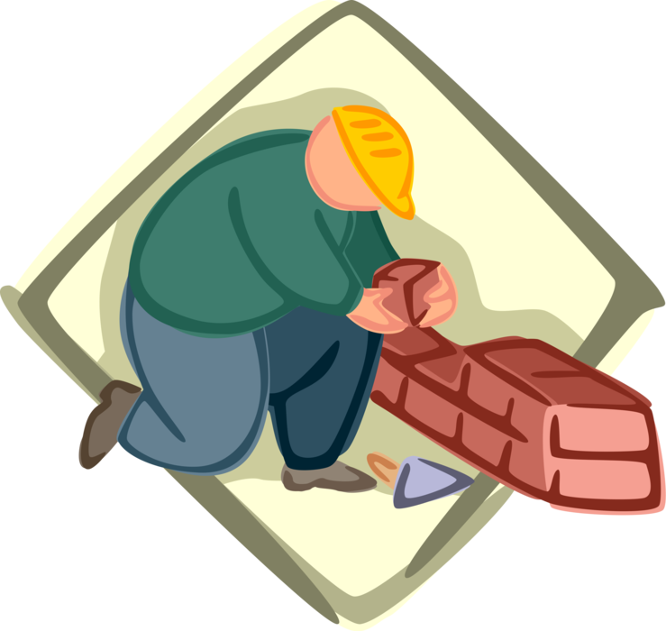 clip transparent stock Mason clipart worker. Bricklayer lays masonry bricks.