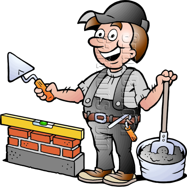 clip Bricklayer with tools . Mason clipart worker.