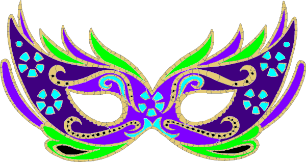 vector stock Purple Green Blue Masquerade Mask