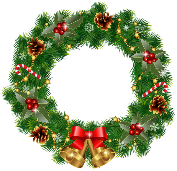 banner Christmas with bells png. Wreath clipart transparent background
