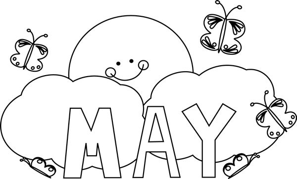 clip freeuse download May clipart black and white. Month of butterflies clip