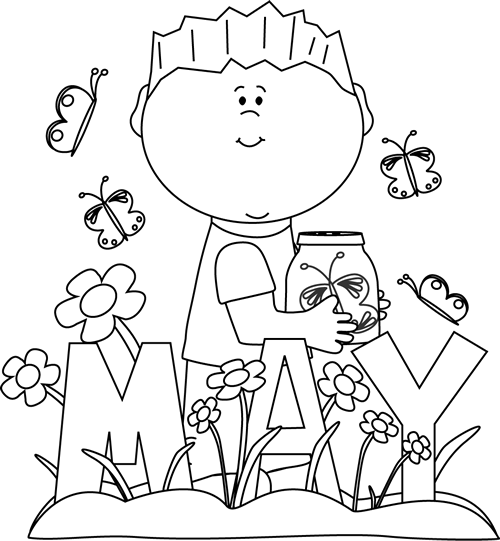 clipart freeuse library Month of spring clip. May clipart black and white