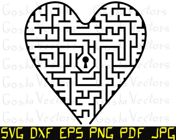 picture free library Maze clipart heart. Svg vector cut file