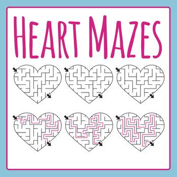vector freeuse Mazes clip art set. Maze clipart heart