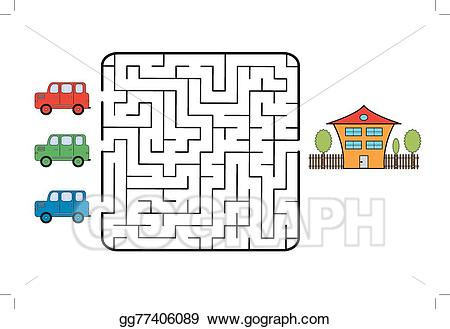 graphic black and white library Vector stock illustration gg. Maze clipart house.