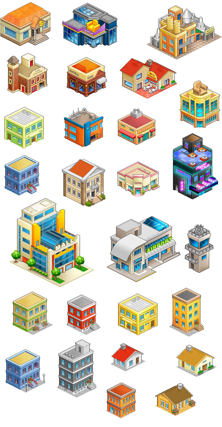 graphic stock Mcdonalds clipart isometric. Pixel buildings concept pinterest.