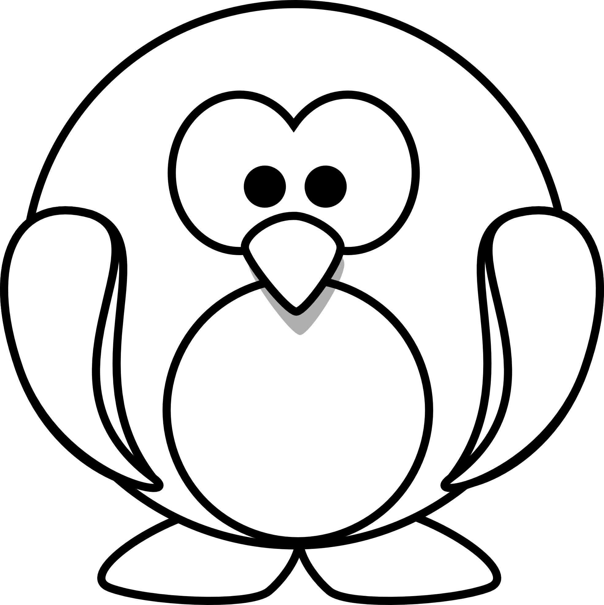 clipart library library Penguin black white line. Animal clipart free