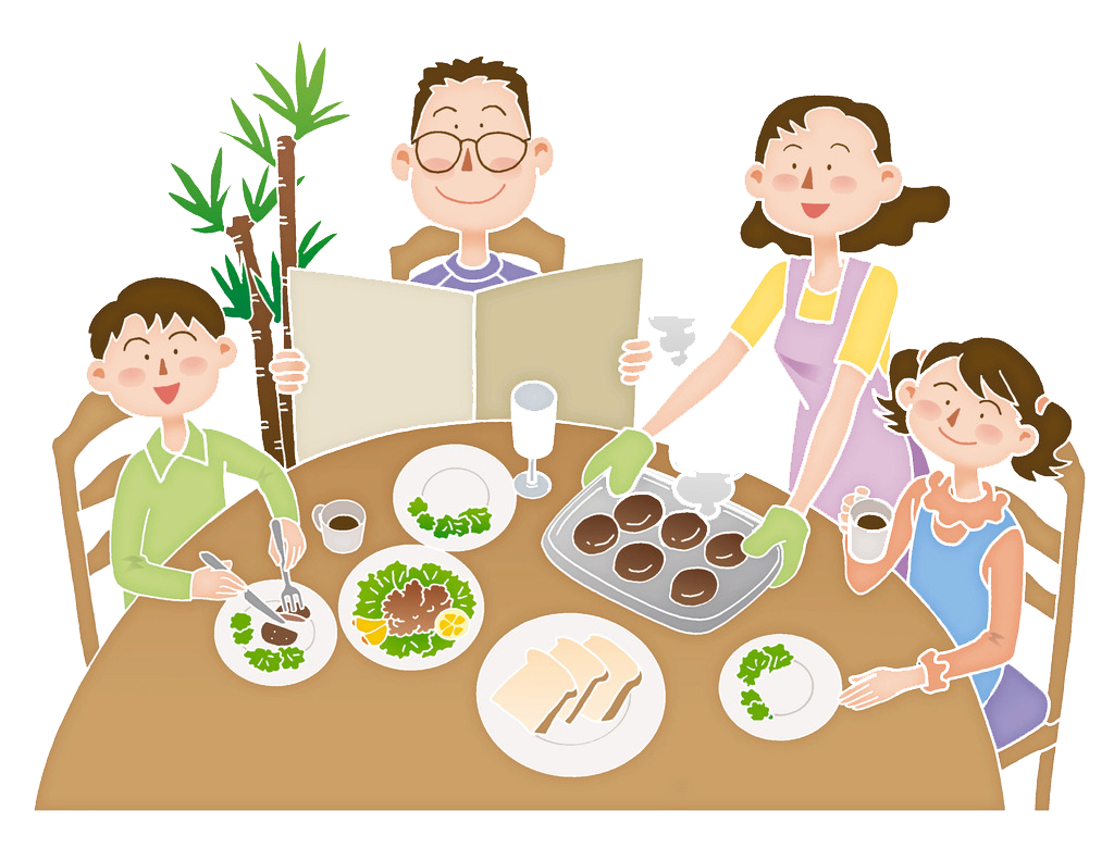 picture freeuse library Cartoon illustration the eats. Meal clipart family eating.