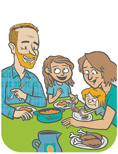 graphic black and white download Meal clipart family eating. Deals time.